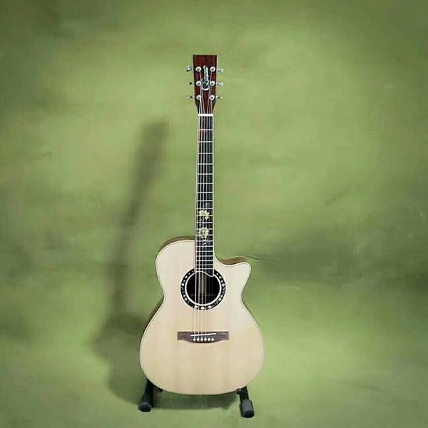 2018 New China Acoustic guitar 41 inch auditorium model flowers inlay fretboard custom made natural solid spruce Chinese acoutic guitars