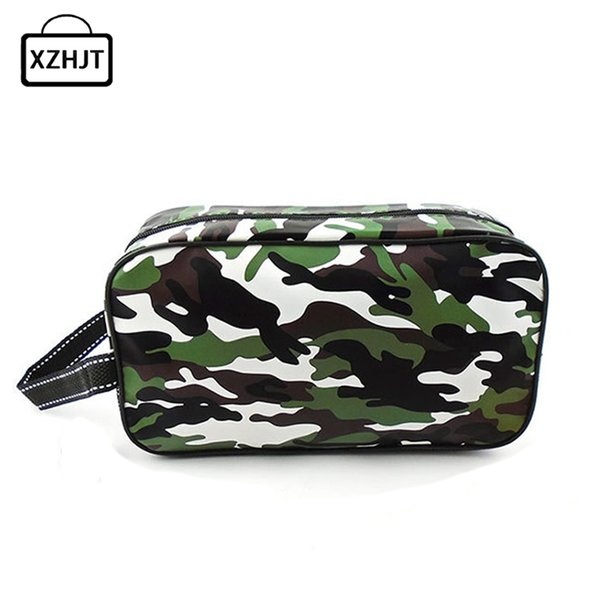 Casual Men Travel Camouflage Cosmetic Bag PU Leather Zipper Make Up Case Organizer Storage Pouch Toiletry Makeup Wash Bags