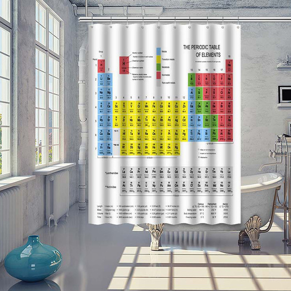 Tableau périodique des éléments 70*70 pouces Tissu Imperméable Rideau De Douche /& Crochets