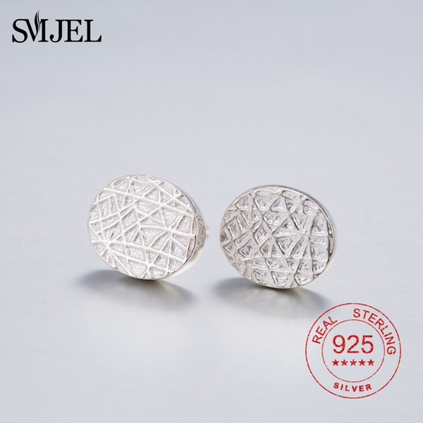 SMJEL 925 Sterling Silver Tiny Circle Stud Earrings pendientes Silver Jewelry For Women Girl Homme Bijoux Piercing Earring Post
