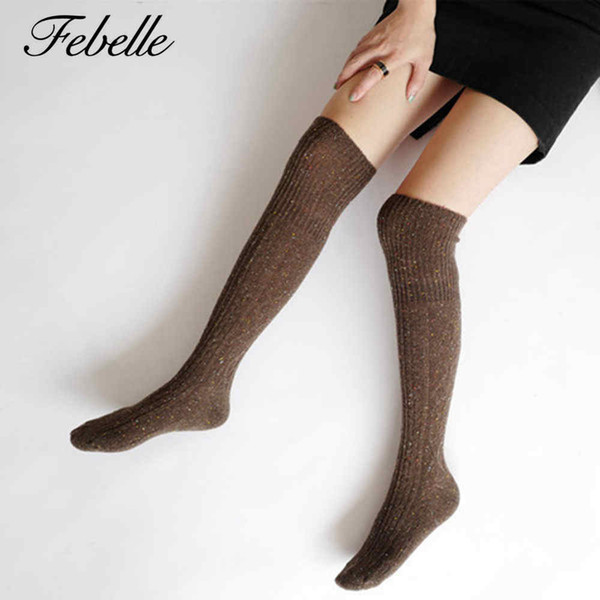 Febelle Women's Socks Sexy Warm Thigh High Over The Knee Socks Long Cotton Thick Stockings For Girls Ladies 6 Colors #228683