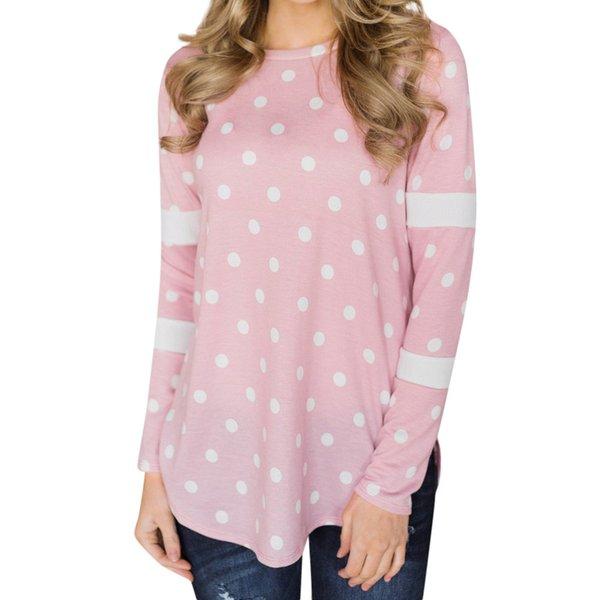ISHOWTIENDA Frauen Tops Polka Dot Plus Größe T-shirt Frauen Langarm 2018 Frühling Herbst Casual T-shirt O Neck Female Top