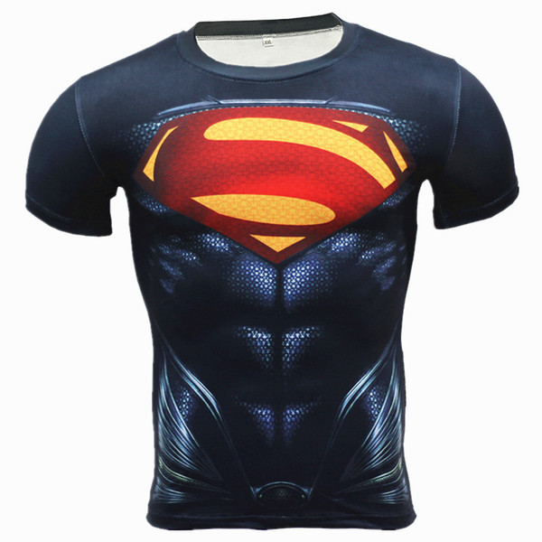 Hot 3D Printing Superhero Superman/Batman Men Long Sleeve T Shirt G ym Compression Tights Tops Fitness T-shirt A02
