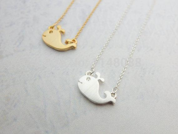 Latest release Jewelry Necklace, Cut Tiny Gold and Silver Whale Necklace,Simple Design Pendant Necklace--30 pcs / lot