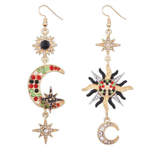 2018 Crystal star moon Dangle Chandelier Earrings Moda Boho Vintage Geometry Orecchini pendenti con catena in oro per donna