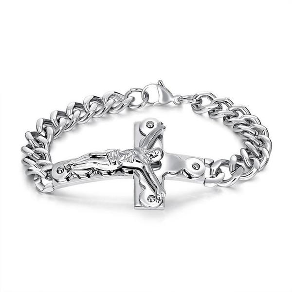 Fashion Bracelets Men Jewelry Jesus Design Punk Rock Hip Hop Gold Silver Link Chain Stainless Steel Bracelet Men Gifts for Men