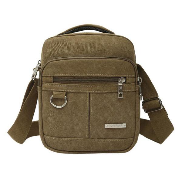 Homens de lona de moda com zíper bolsa de ombro de alta qualidade Cross corpo Bag Black Khaki Brown Handbag Men Bag
