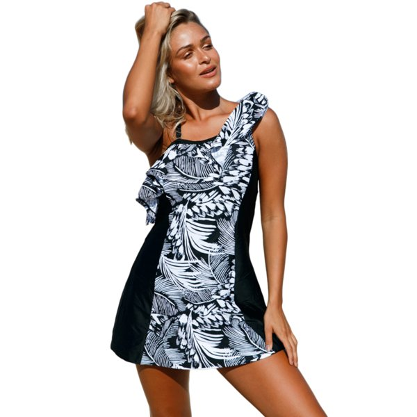 Hot Items One Piece Swimsuit Bikinis Women 2018 Brazilian Monochrome Jungle Swim Dress Bathing Suit With Shorts