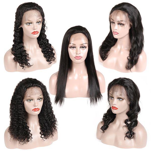 Menschliches Haar Lace Front Perücken Pre Zupforchester brasilianisches Jungfrau-Haar-Perücken Gerade Körper-Welle lösen Welle tiefe Welle Versaute Curly Natural Color