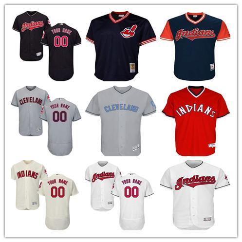 Frete grátis personalizado Homens Mulheres Juventude índios Majestic Jersey personalizada nome e número vermelho branco cinzento crianças meninas Baseball Jerseys