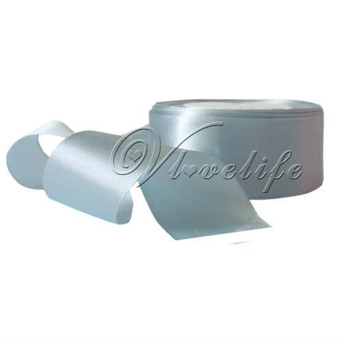 """Wholesale-Free shipping One Roll 25 Yards 1.5"""" 38mm Light Silver Satin Ribbon Craft Bow Wedding Party Supply"""