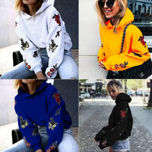 Vintage Butterfly Roses Floral Print Women Hoodies Sweatshirt Long Sleeve Pullovers Hoody Autumn Outwear Pullovers Tops 4 Colors LJJO4099