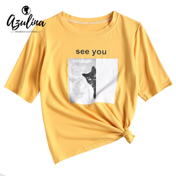 79925fb58385 AZULINA Cat Panel Soft Graphic T-Shirt Women T Shirt Summer Cute Cotton  Crew Neck Short Sleeve Ladies Tops 2018 Girls Clothing