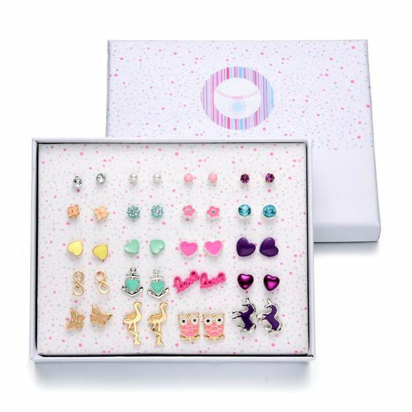 Onnea 20 Pairs Variety Assorted Enamel Stud Earrings Set for Women Girls Horse Owl Heart Flower Earring Jewelry Gift