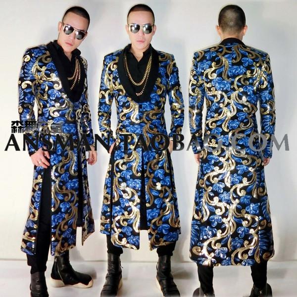 Мужская певица DJ ночной клуб бар гостей Jam Hsiao с голубой тотем длинный разрез куртка костюм вышивка этап певица костюмы