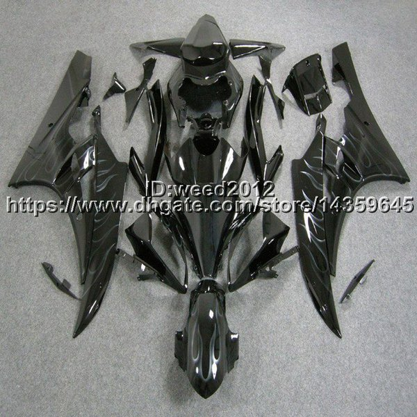 custom+Free gifts Injection mold silver flames bodywork hull motorcycle body kit for Yamaha YZF-R6 2006 2007 YZF R6 2006 2007 ABS Fairing