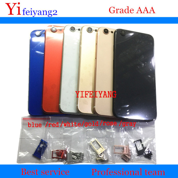 100% a qualidade tampa traseira habitação para iphone 6 como 8 de metal de alumínio de volta tampa da porta da bateria estilo 8 com o botão lateral sim bandeja do cartão