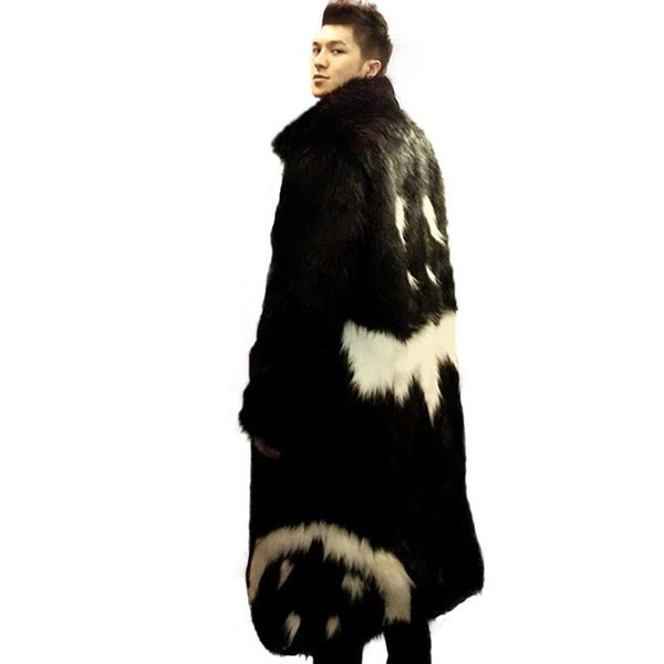 2016 neue männer winter kunstpelz jacke Schwarz kleid weißen teufel Stil lange windjacke Fox dicke warme mode mann leahter pelzmantel