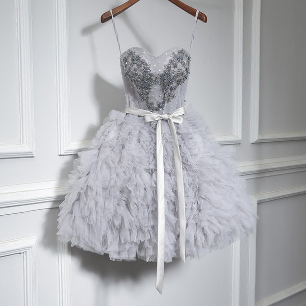 Gray Short 2018 Homecoming Prom Dresses Plus Size Vintage Beading Ruffles Skirt Keen Length Corset Cheap Graduation Cocktail Party Gowns