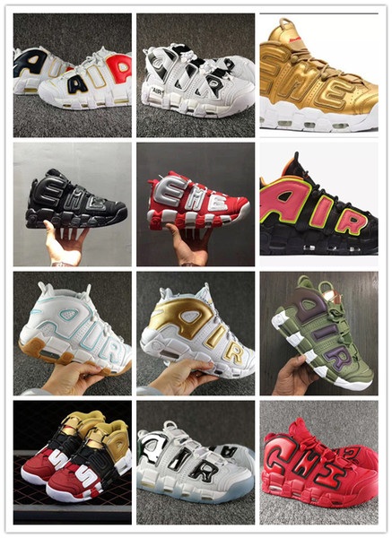 New colors , Women SUP Air More Uptempoes Basketball shoes Man sports sneakers, Black white WINE CHI Oliver green white golden Hot Punch