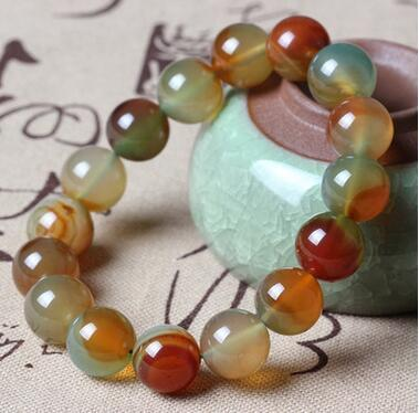 8cm 12cm Natural Brazilian Peacock Green Agate Chalcedony Crystal Bracelet Beads Bracelet Jewelry Men and Women Couples Crystal