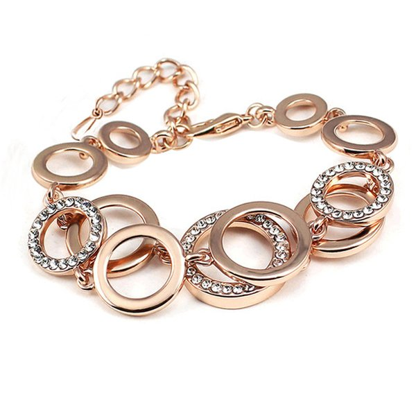 Charm Bracelets for Women Silver Rose Gold Woman Crystal Chain Bracelets Accessory Hip Hop Party Rock Fashion Jewelry