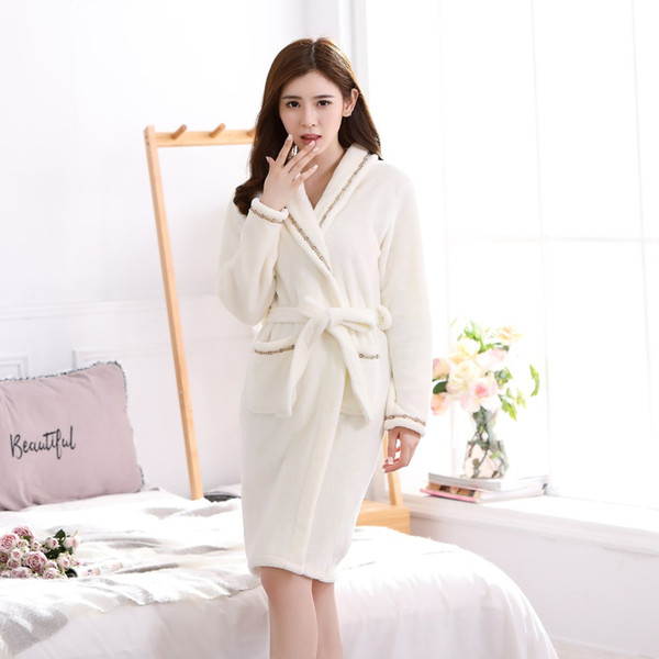2018 Flannel Winter Robes Women Long Sleeve Thickening Warm Robe ...