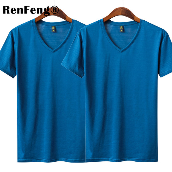 Men basic T shirt Natural Silk V neck Solid shirt Short Sleeve Tops Mens silk Sexy Top Blank Blue Black 2018 New Spring Summer