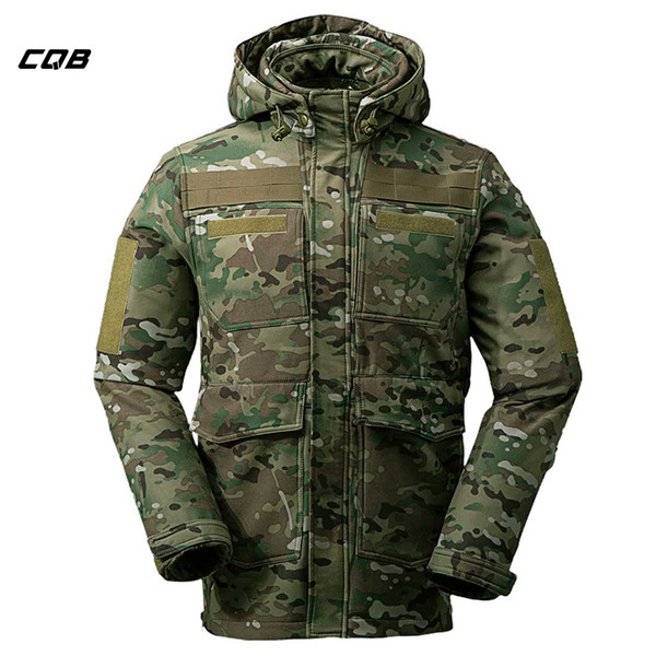 CQB Outdoor Tactical Military Sports Softshell Jacket Men Camouflage Water Repellent Camping Hiking Hunting Multi Pocket clothes Y1893006