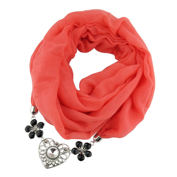 Solid Color Cotton Ornaments Necklace Scarf Alloy Peach Be Greedy Flower scarves jewelry charms Scarf jewelry scarfs design women wholesale