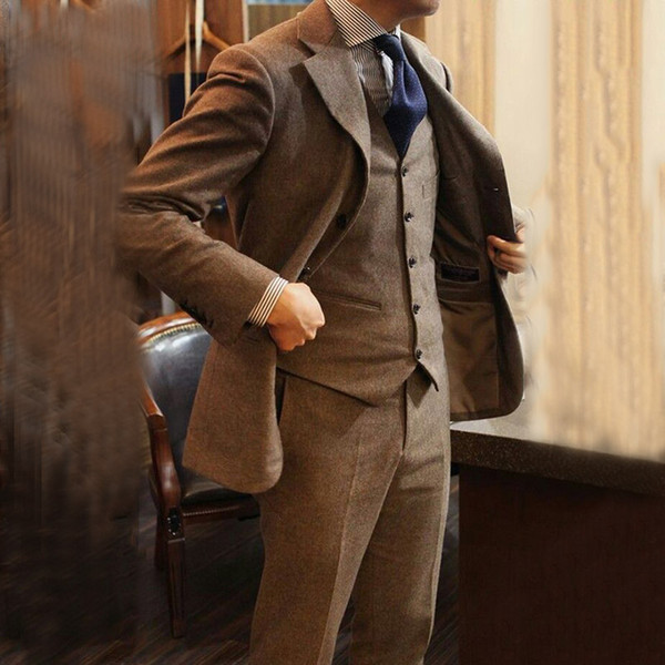 Brown Tweed Mens Wedding Tuxedos Classic Suit Blazer chaqueta Slim Fit novio por encargo Best Man 3 piezas Terno Masculino Prom
