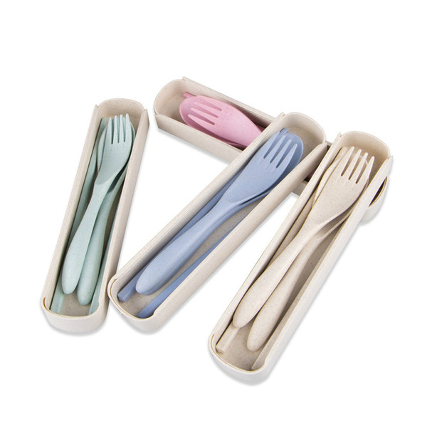 1set Hot Sale Portable Travel Cutlery Travel Fork Tableware Dinnerware Sets Camping Picnic Set For Kids School Gifts