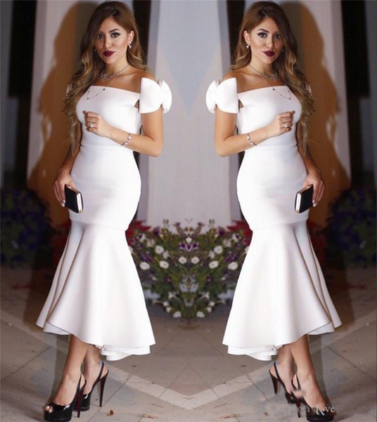 Off the Shoulder Mermaid Prom Dresses White Tea Length Arabic Cocktail Dresses Plus Size Simple Formal Evening Party Gowns