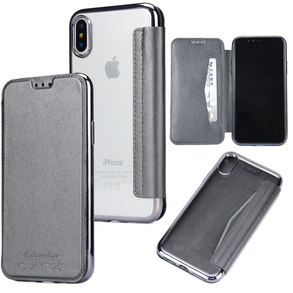 Flip Leather Clear Transparent plating TPU Phone Cover Case For iPhone X XS Max XR 8 7plus 7 6s S9 S8 Plus