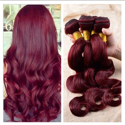 Virgin Malaysian Burgundy Human Hair Body Wave Pure Color 99J Wine Red 3Pcs Malaysian Virgin Remy Body Wave Human Hair Weave Bundles