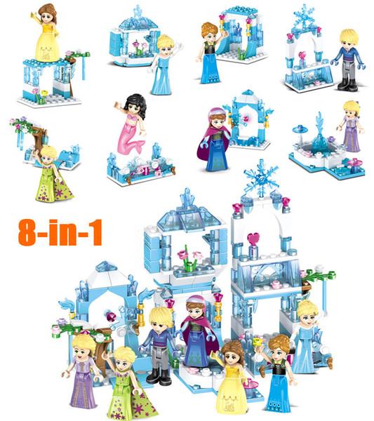 2018 Novo Mini Ice Castle Modelo Sereia Kristoff Princesa Sparking Building Block Toy Figura de Construção para a menina crianças