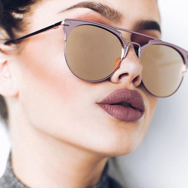 14d8bb5816b1f Moda piloto de alta qualidade óculos de sol das mulheres designer de marca  retro cat eye