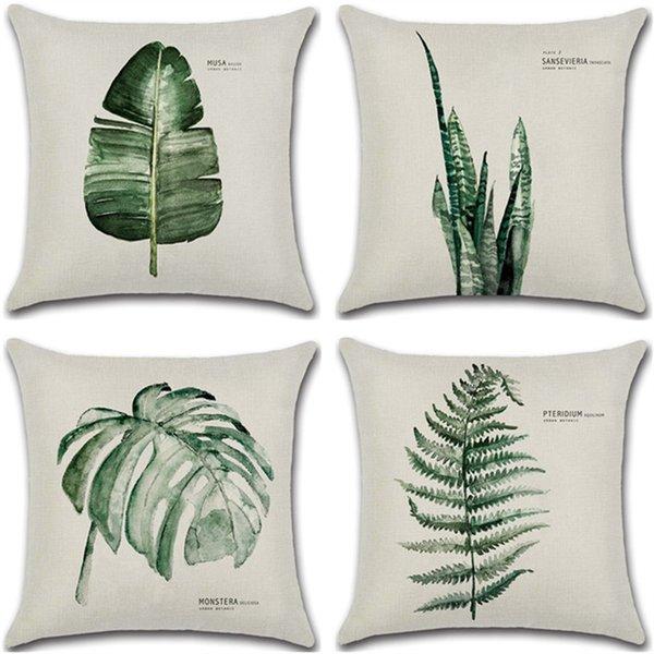 Новый зеленый Листья свежий суя постельное белье хлопок белье главная наволочка Home Decor диван бросить подушку обложка luxury home decor
