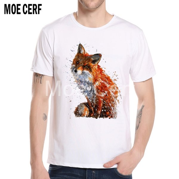 Newest Creative 3D Painted Fox t-shirt Fashion Watercolor Animal Design T Shirt 2018 Summer Men Tee Camisetas Hombre L6-H-7