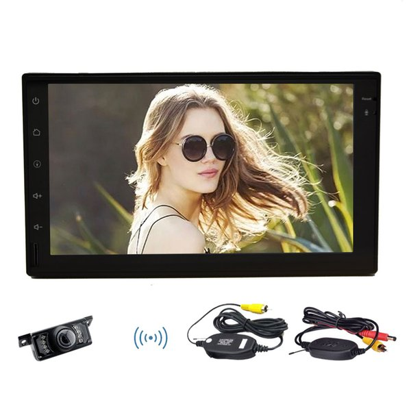 Wireless Backup Camera+Android 6.0 Car Auto Radio Stereo NO DVD CD Player Touch Screen Double 2Din Quad Core In Dash Headunit GPS
