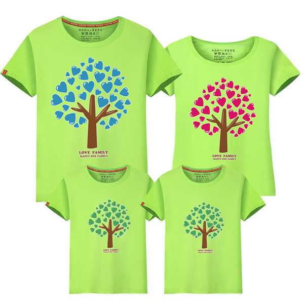 Family Look Father Mother Daughter Son t shirts Family Clothing Hearts Tree Shirts Tops Tees Casual Family Matching clothes Outfit Sets