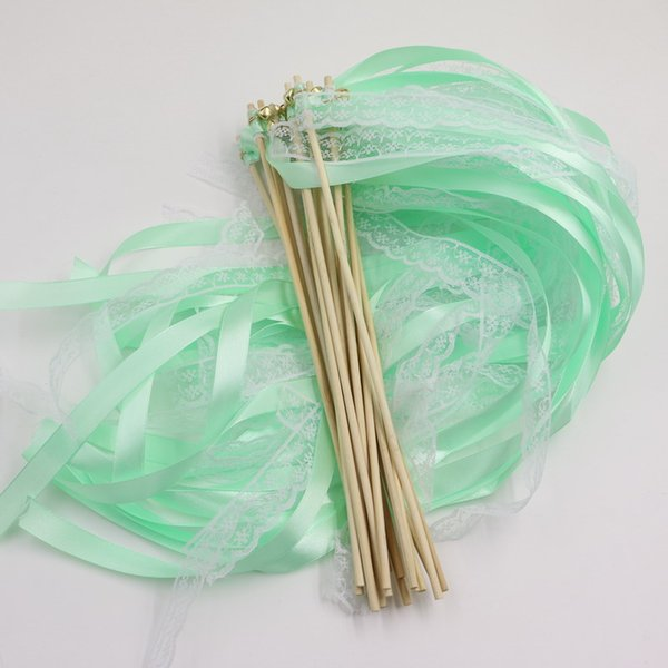50pcs/lot Custom Colored Wedding Ribbon Wands Ribbon Stick With Bell Tiffany blue Wedding Confetti Twiring Stream Ribbon