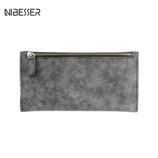 NIBESSER Ultradünne Kredit Brieftasche Frauen PU Leder Lange Geld Brieftasche Mode Retro Geldbörse Frauen Clutch Lady Geldbörse für Münzen