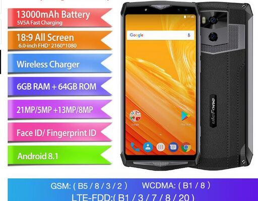 """Ulefone Power 5 4G LTE CellPhone 13000mAh Wireless charger 6.0"""" 18:9 FHD MTK6763 Octa Core 6GB+64GB Android 8.1 21MP Dual Camera Mobile Phon"""