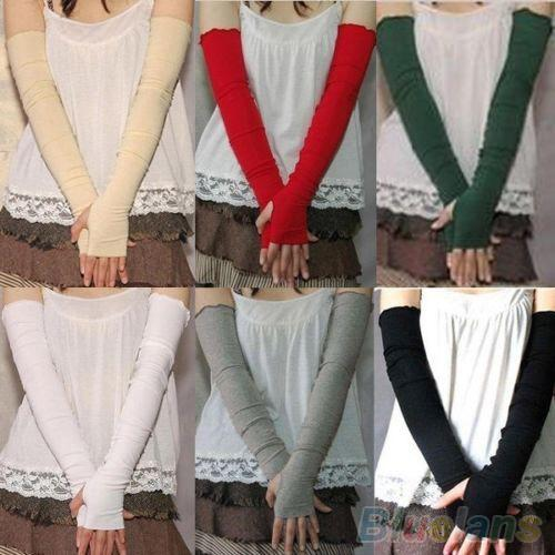Women's Fashion Cotton UV Protection Arm Warmer Long Fingerless Gloves Sleeves 1PDM