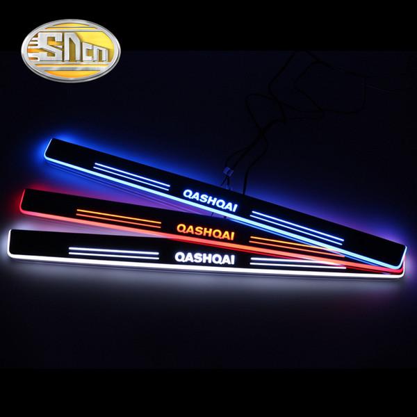 Travesaño de la puerta del coche LED SNCN 4PCS para Qashqai 2015 - 2017 2018 Ultra-delgado acrílico que fluye LED Bienvenido Luz Pedal de la placa del desgaste