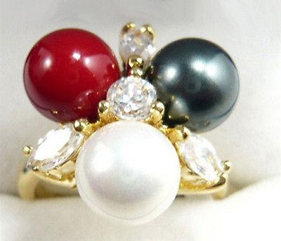 Wholesale Black White Red South Sea Shell Pearl Beads Crystal Golden Ring Size: 6.7.8.9