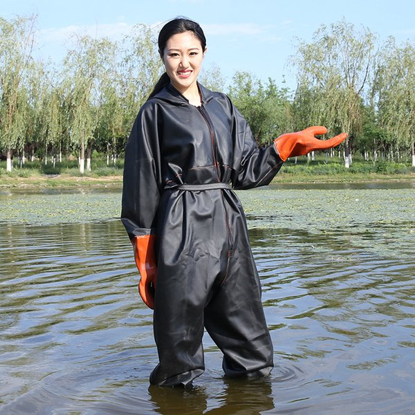 0.9mm thickening waterproof whole body fishing wear-resisting waders pants hooded non-slip boots gloves men womenwading trousers thumbnail