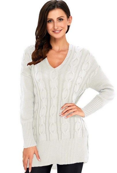 Nova camisola longa das mulheres com decote em V de manga comprida Pullover Knit Jacket primavera e outono camisola sólida Aolor grande CodeTop
