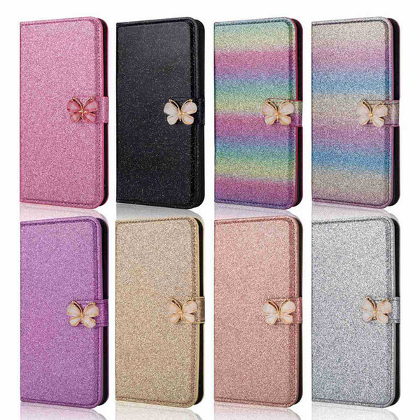 Case For Huawei P8 Lite(2017) P9 Lite(2017) P8 Lite P9 Lite P8 Glitter Shine and Butterfly Card Holder Wallet Full Body